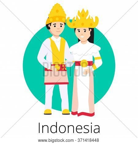 Local Wedding Indonesian Pair With The Bride And Groom Wearing Traditional Dress And Engaging In Loc