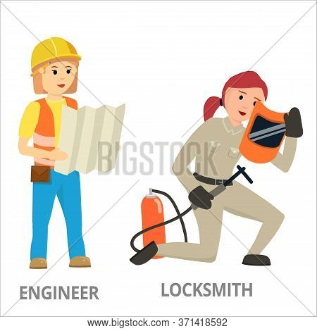 Women Hard Working In Non-traditional Man Roles, Profession - Engineer Locksmith. Feminist Girl, Wom
