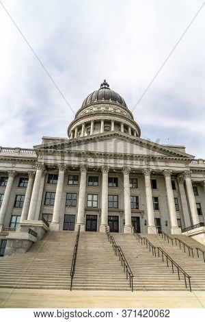 Utah State Capital Building Dome And Stairs Leading To The Pedimented Entrance