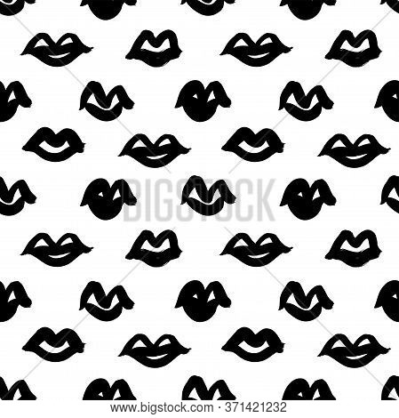 Black Paint Lips Vector Seamless Pattern. Abstract Girls And Woman Mouth. Grunge Brush Stroke Textur