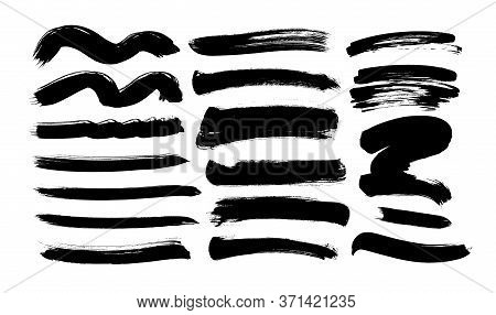 Black Paint Wavy And Straight Brush Strokes Vector Collection. Dirty Curved Lines And Wavy Brushstro