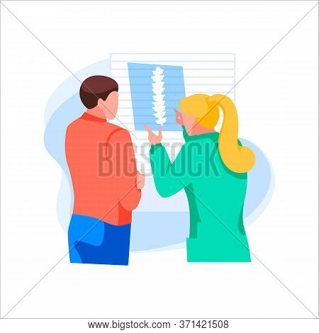 Female Doctor Shows X-ray Picture To Patient. Male Character At Hospital Or Clinic Reception. Medica