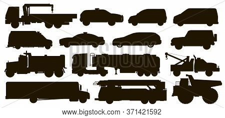Urban Transport Set. City Public Special Service Automobile Vehicle Silhouettes. Isolated Police, Am