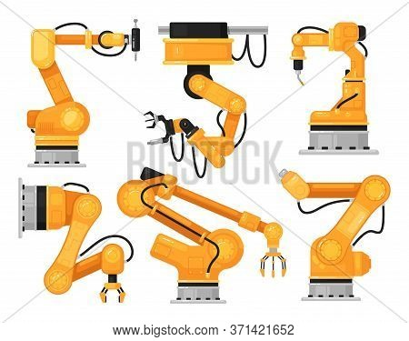 Industrial Robotic Arm. Factory Hydraulic Machine Hand For Automatic Manufacturing On Production Lin