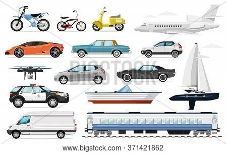 Passenger Transport. Public And Private Passenger Vehicles Side View. Isolated Police Car, Train, Ai