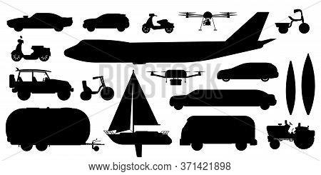 Vehicle Transportation Silhouette. Passenger Public, Private Transport. Isolated Automobile Car, Bus