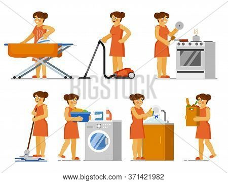 House Chores Set. Housewife Doing House Work At Home. Isolated Woman Ironing Clothes, Cleaning Floor