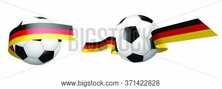 Balls For Soccer, Classic Football In Ribbons With The Colors Of The German Flag. Design Element For