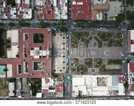 Zenith View Of Zapopan's Central Square And Surrounding Streets, Jalisco