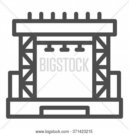 Outdoor Concert Stage Line Icon, Music Festival Concept, Scene Sign On White Background, Concert Sta