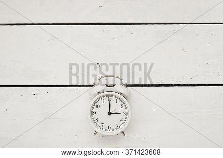 Daylight Saving Time, White Retro Alarm Clock