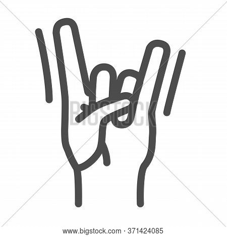 Rock Hand Gesture Line Icon, Music Festival Concept, Rock And Roll Sign On White Background, Hard Ro