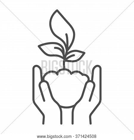 Human Palms Hold A Young Sprout Thin Line Icon, Save Nature Concept, Sprout Symbol On White Backgrou