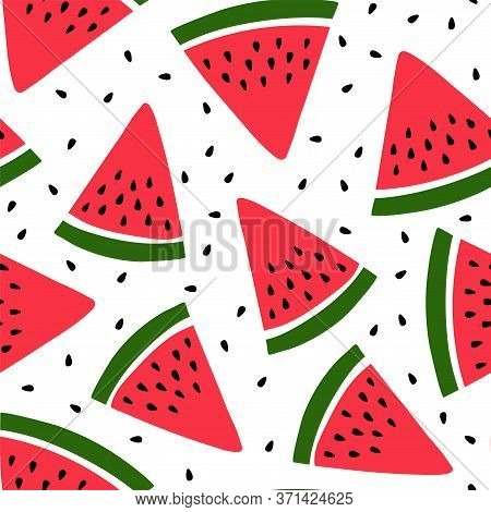 Watermelon Seamless Pattern. Hand Drawn Fresh Berry Slice. Vector Sketch Background. Red And Green P