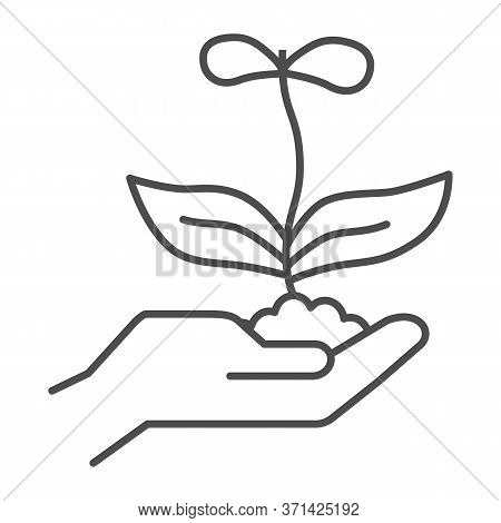 Young Flower With Two Petals In Hand Thin Line Icon, Nature Concept, Spring Flower Blossom Sign On W