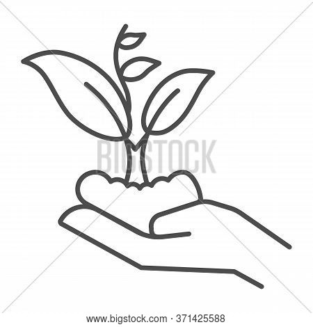 Hand Holding Seedling In Soil Thin Line Icon, Nature Concept, Hand Carefully Holds Sprout With Leave