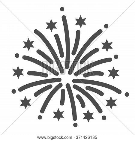 Firework Line Icon, Explosive Pyrotechnic Show Concept, Fireworks With Bursting Stars Sign On White