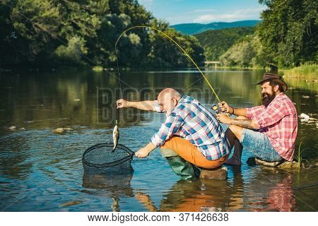 Portrait Cheerful Two Bearded Men Fishing. Fishing Is Fun. Home Of Hobbies. Happy Fly Fishing. Summe