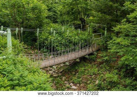 Suspension Bridge Over Ravine In Recreational Mountain Forest.
