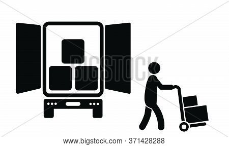 Delivery Person Unloading From Truck.  Black Illustration Isolated On A White Background. Eps Vector