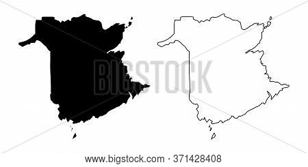 New Brunswick Province And Territory Of Canada. Black Illustration And Outline. Isolated On A White