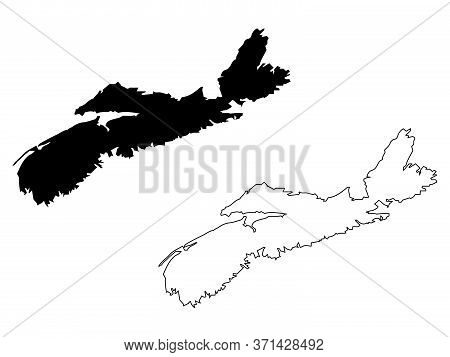 Nova Scotia Province And Territory Of Canada. Black Illustration And Outline. Isolated On A White Ba