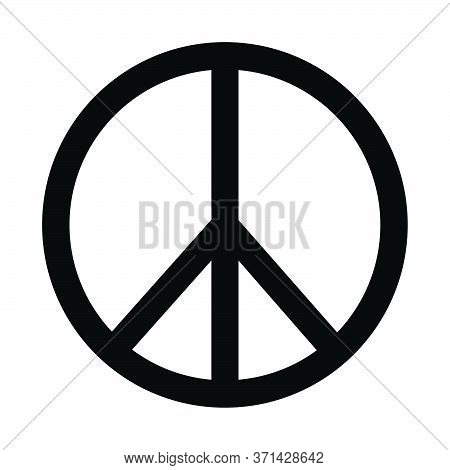 Peace Sign Logo Icon. Black And White Illustration. Eps Vector