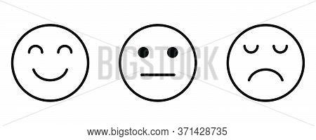 Smiley Sad Neutral Face Feedback Satisfaction Facial Emotion Emoji. Black Outline Illustration Isola