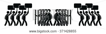 Two Groups Of Protesters Clash With Riot Police. Black Illustration Isolated On A White Background.
