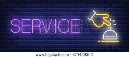 Service Neon Sign. Glowing Inscription With Hand And Table Bell On Dark Blue Brick Background. Can B