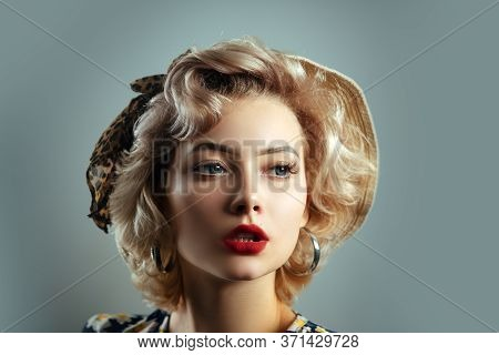 Pin Up Girl Vintage. Beautiful Woman Pin Up Style Portrait In Retro Makeup. Red Lips Portrait Of Bea
