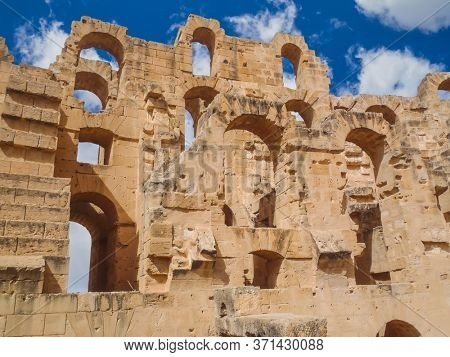 Ruins of the largest Roman coliseum in in North Africa. El Jem,Tunisia