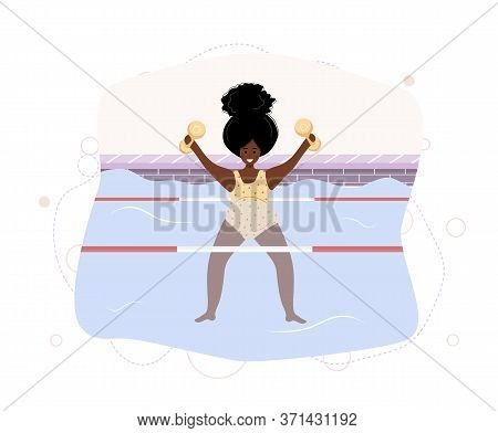 African Pregnant Woman In Bikini In Pool. Aqua Fitness And Aerobic. Healthy Lifestyle. Young Mother