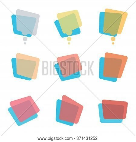Collection Of Modern Rainbow Colors Blank Transparent Speech Bubbles And Dialog Balloons. Vibrant Gr
