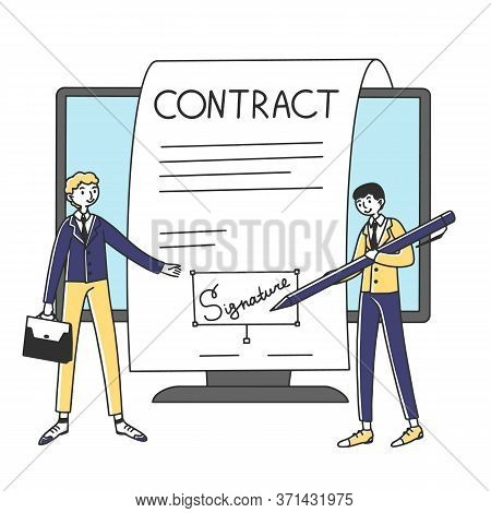 Business People Signing Online Contract With Electronic Signature Illustration. Managers Signing Dig