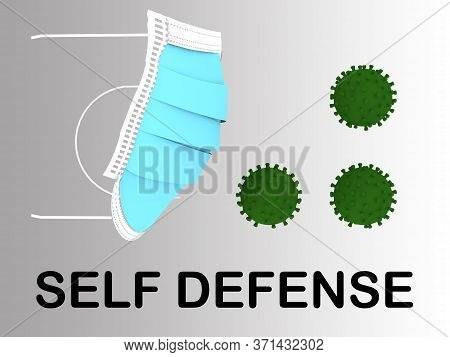3d Illustration Of Medical Face Mask In Front Of Three Coronavirus Particles Along With The Text Sel