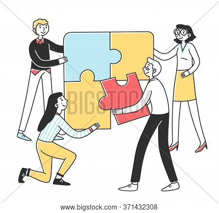 Team Connecting Puzzle Parts. People Building Jigsaw Solution Together. Illustration For Business Co