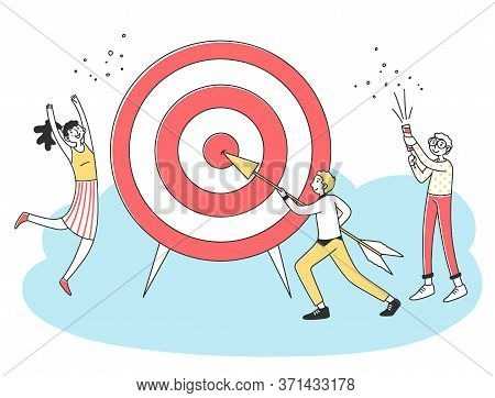 Business Team Achieving Goal. People Driving Arrow To Target, Celebrating Success. Illustration Chal