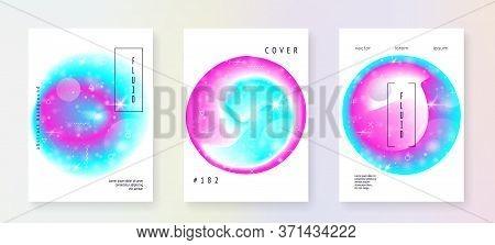 Astronomy Flyer. 3d Magic Dreamer Unicorn Sparkles. Holographic Gradients. Futuristic Science Templa