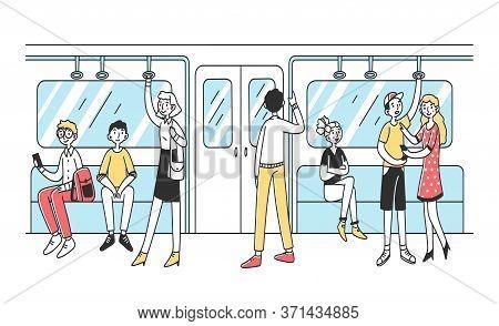 People Using Subway Flat Illustration. Men And Women In Public Transport. City Dwellers In Metro, Tu