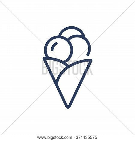 Tasty Sundae Bubbles In Cone Thin Line Icon. Menu, Waffle, Sweet Isolated Outline Sign. Dessert And
