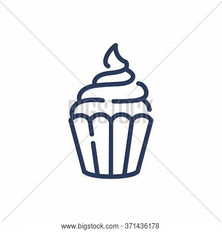 Muffin With Cream Thin Line Icon. Bakehouse, Coffee, Cafe Isolated Outline Sign. Sweet Desserts And