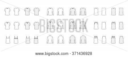 Set Of 9 Tops Technical Fashion Illustration Croqui Front And Back White And Color Style. Women And