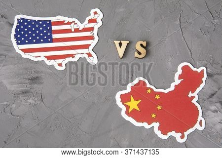 Flags Of Usa And China. Conflict Between Country. Global Financial Trade War Of America Vs China Bat