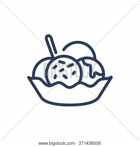 Bubbles Of Ice Cream In Bowl Thin Line Icon. Spoon, Icing, Nut Isolated Outline Sign. Dessert And Fo