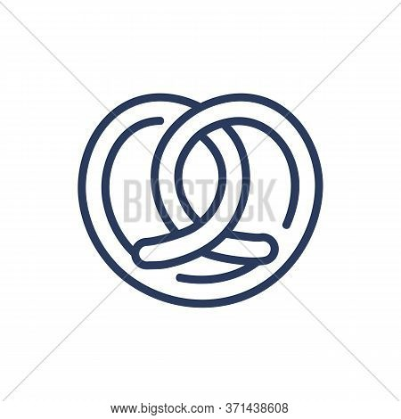 Knot-shaped Biscuit Thin Line Icon. Pretzel, Dough, Pastry Isolated Outline Sign. Sweet Desserts And
