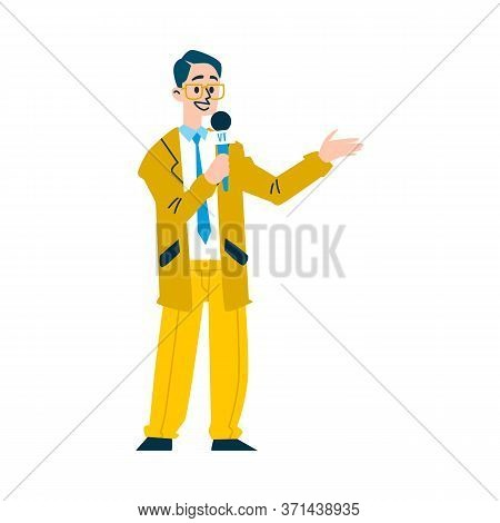 News Reporter Man Speaking On Microphone - Cartoon Television Newscaster Character