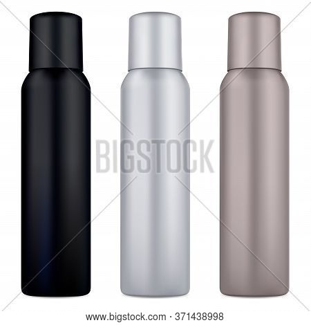 Air Spray Deodorant Can. Cosmetic Tin Mockup Blank. Aluminum Metal Container For Hair Aerosol With C