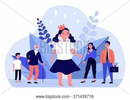 Annoyed Angry Girl Wearing Crown. Troubled Child, Upset Parents, Family Flat Vector Illustration. Ch