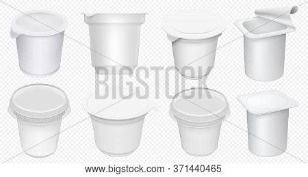 Yogurt Cup. Plastic Yoghurt Pot Isolated On Transparent Background. Blank Yogurt Container And Cream